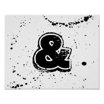 modern chic poster ampersand in black and white