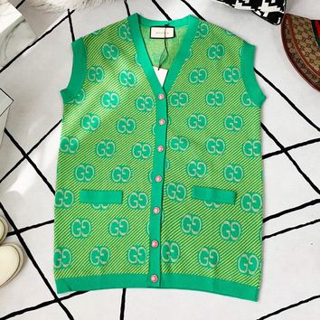 GUCCI Wool Blended Gold Silver Line Jacquard Sleeveless Green Vest Coat