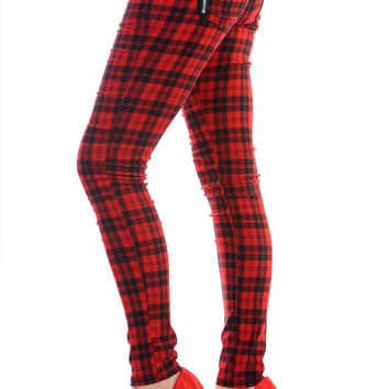 Banned Plus size Punk Rock Funky Red Plaid Tartan Check Skinny Jeans