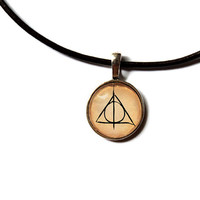 Harry Potter pendant Deathly Hallows necklace Magic triangle jewelry Antique style n266