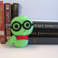 Bookworm Plush, Boy Bookworm, Felt Plushie, Books