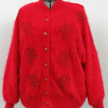 Vintage 80s Plus Size Red Cardigan Sweater, Angora Cardigan, Dolman Sweater, Beaded Cardigan, Oversized Cardigan, Fuzzy Cardigan