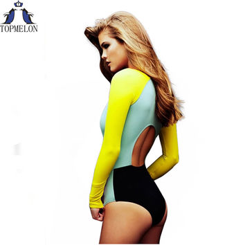 One Piece Women's Long Sleeve Swimsuit with Open Back Multi Block Print