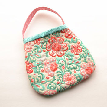 Quilted toddler purse. Little girl purse. Child handbag. girl gift second third birthday coral aqua turquoise pink red heirloom luxury gift