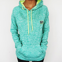 Embroidered Electric Seafoam Hoodie