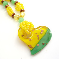 Yellow Heart Necklace, Lampwork Glass Jewelry