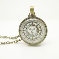 1PC Epoxy Transparent Time Gems Alloy Retro Compass Charm Pendant Necklace w/Alphabet Charm Best Friend Gift Fashion Jewelry for Boys
