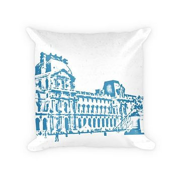 Louvre Museum Cotton Poly Throw Pillow