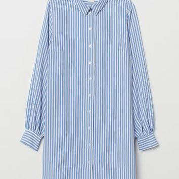 Crêped Shirt Dress - Light blue/white striped - Ladies | H&M US