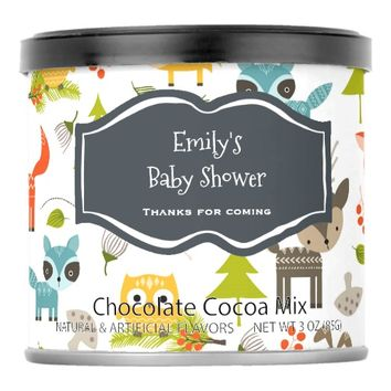 Woodland Creatures Baby Shower Thank You Hot Chocolate Drink Mix