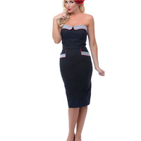 Unique Vintage Top Ship Shape Navy with Pin Stripe & Red Trim Sue Wiggle Dress - Unique Vintage - Prom dresses, retro dresses, retro swimsuits.