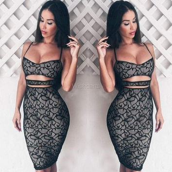 Women Black Lace Sexy Cut Out Bodycon Strap Party Prom Club MIni Dress AU 10-20 = 1956573700