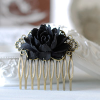 Black Rose Flower Hair Comb. Goth Gothic Hair Accessory, Black Wedding Bridal Hair Comb, Gothic Wedding Hair Accessory, Holloween
