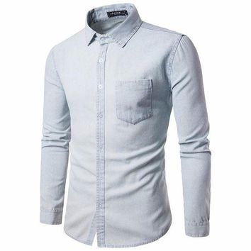 VONE05F8 mens casual long sleeve shirt business slim fit shirt cowboy blouse top