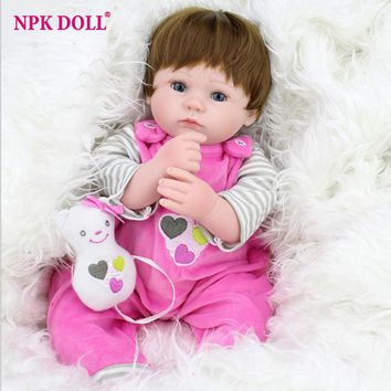 45cm Handmade Lifelike Baby Girl Doll Silicone Vinyl Reborn Bebe Dolls WIth Bear Pacifier Kids Educational Toy Birthday Gift