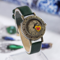 Gift Trendy Good Price Designer's New Arrival Great Deal Awesome Korean Vintage Heart Strong Character Casual Stylish Decoration Watch [4933060676]
