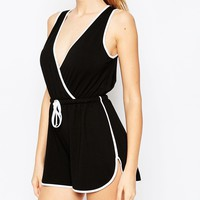 ASOS Wrap Romper with Contrast Piping