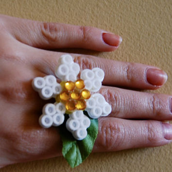 Daisy Kandi Perler Bead Rave Ring with Rhinestones - Perfect for EDC