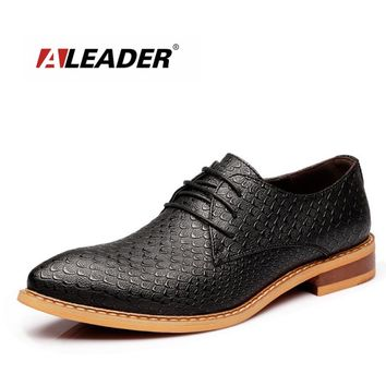 ALEADER 2017 Men Casual Dress Shoes Fashion Lace Up Formal Shoes Men Genuine Leather Flats Male Loafers Sapatos Masculinos