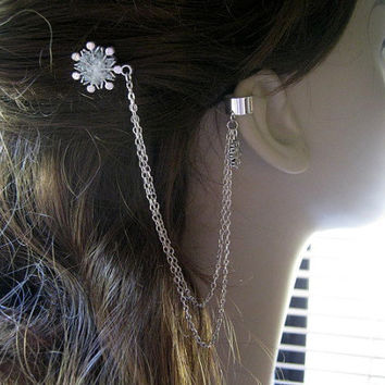 Stained Glass Snowflake Hair Comb, Ear Cuff,  Ear Cuff Bobby Pin, Ear Cuff Hair Comb, Snowflake Bobby Pin