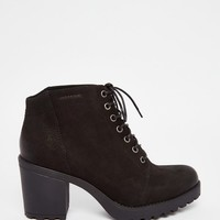 Vagabond Grace Black Nubuck Lace Up Ankle Boots
