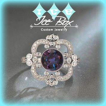 Alexandrite Engagement Ring ~  7mm 2ct Round Cultured Color Change Alexandrite in a 14k White Gold Halo Art Deco Nouveau Vintage Antique