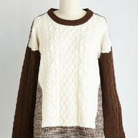Vintage Inspired Mid-length Long Sleeve Rooftop Reveries Sweater by ModCloth