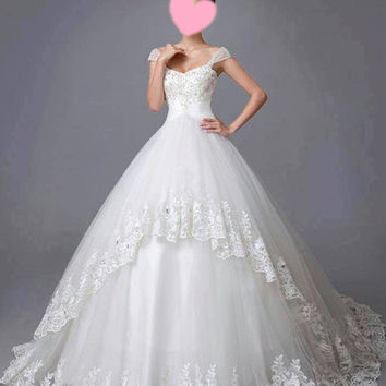 2014 New Design Petite A-line with Chiffon Split Front Overlay Style Wedding Dress --- WD037