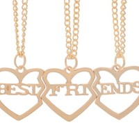 Encounter <Together Forever> Heart to Heart Best Friends 3 Parts Pendant Chain BFF Necklace 51.5cm