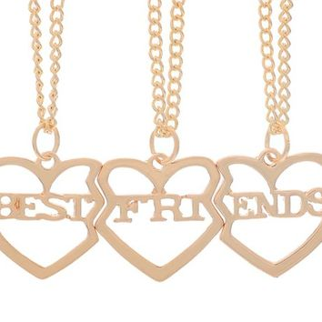 Encounter  Heart to Heart Best Friends 3 Parts Pendant Chain BFF Necklace 51.5cm