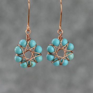 Turquoise copper wiring hoop Earrings Bridesmaids gifts Free US Shipping handmade Anni Designs