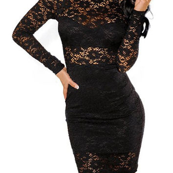 Black Lace Cut Out Long Sleeve Bodycon Mini Dress