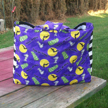 Tote Bag Halloween Trick or Treat Tote Bag Ready to Ship Shopping Tote