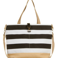 Black and White Stripe Diaper Tote Bag - The Classic