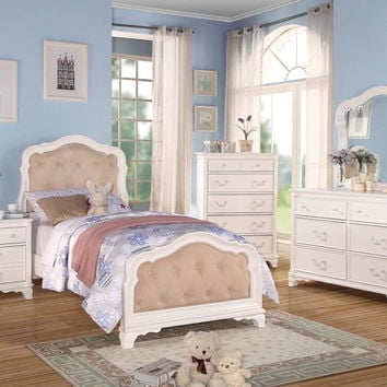 Acme 30145T 5 pc ira collection white finish wood button tufted padded twin bedroom set with decorative handles