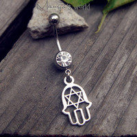 Hamsa Hand Belly Button Ring Jewelry- Crystal Belly Ring- Silver Hamsa Hand Charm Dangle Navel Piercing Bar Barbell- B018