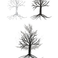 Personal and Commercial Use Eerie Winter Tree Digital Stamp/Graphic/Clipart | Pack of three!