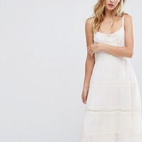 Bershka Crochet Button Up Midi Dress at asos.com