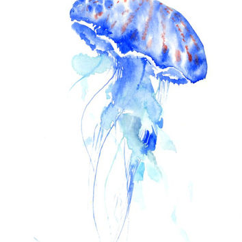 Blue JellyFish, Original watercolor painting, 12 X 9 in, blue sea world animals