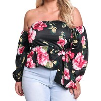Plus Size Women Off Shoulder Floral Print Women Tops And Blouses