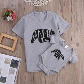 family fitted Mom and Baby Clothes Mama Bear Short Sleeve CottonTee and Baby Bear Rompers Bodysuit Matching Set