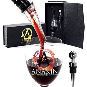 Wine Aerator Pourer and Wine Bottle Stopper Set by Anakin Attachable Clear Decanter Spout and Stainless Steel Wine Bottle Cork Kit