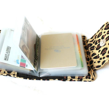 card holder wallet - cheetah card wallet - card organizer wallet - brag photo album - loyalty card holder - small wallet - coupon organizer