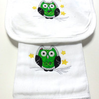 Green Owl Baby Burp Cloth and Bib Set Embroidered
