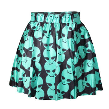 Alien Head printing skirt Print Skater Skirt Women Skirt Clothing Mini skirt Dress = 5738987841