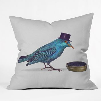 Terry Fan Gentlebirds Prefer Caviar Throw Pillow