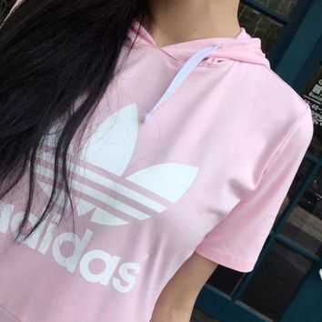 PEAP2Q adidas women s hooded pink black pullover dress