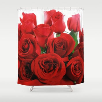 Red Roses Shower Curtain by Erika Kaisersot
