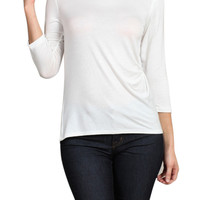 3/4 Sleeve Jersey Knit Boat Neck Top