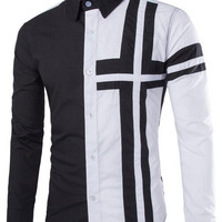 Color Block Cross Pattern Shirt Collar Long Sleeve Shirt